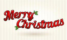 Text för glad jul som utarbetas till detaljer. Vektorkonst. Royaltyfri Bild
