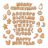 Text för jul och för nytt år, pepparkakaalfabet och gulliga traditionella feriekakor Socker täckte bokstäver och nummer stock illustrationer