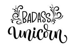 Text för kalligrafi för Badass enhörninghand utdragen moderm isolerad stock illustrationer