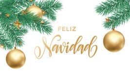 Text för kalligrafi för Feliz Navidad Spanish Merry Christmas ferie guld- hand dragen för hälsningkort av stjärnaprydnadgarnering stock illustrationer