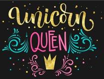 Text för kalligrafi för guld- folie för Unicorn Queen hand utdragen isolerad färgrik på mörk bakgrund royaltyfri illustrationer