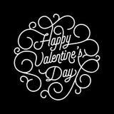 Text för kalligrafi för swash för Valentine Day hälsningkort för mall för hälsningkortdesign För valentindagen för vektorn lät ut Royaltyfri Bild