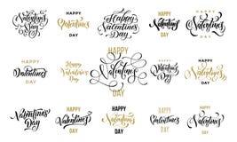 Text för kalligrafi för Valentine Day hälsningkort guld- för mall för hälsningkortdesign För valentindag för vektor lycklig svart Arkivbild