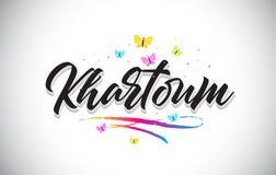 Text för Khartoum handskriven vektorord med fjärilar och färgrik Swoosh vektor illustrationer