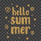 Text för konfettier för gnistrande för Hello sommar guld- Royaltyfria Foton