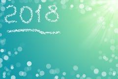 text 2018 för kortet för ditt lyckliga nya år för design på aqua Royaltyfri Foto