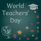 Text för krita för dag för världslärare` på svart tavlavektorn Stock Illustrationer