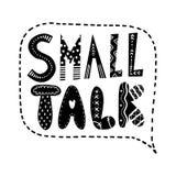 Text för litet samtal Märka i en anförandebubbla stock illustrationer
