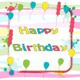 Text för lycklig födelsedag med för hälsningkort för ballong det färgrika banret Arkivbilder