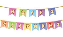 Text för lycklig födelsedag på repet som isoleras på vit bakgrund royaltyfri illustrationer