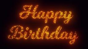 Text för lycklig födelsedag på svart bakgrund, 3 stilsortsversioner som flyger gnistor, partikelanimering stock video