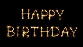 Text för lycklig födelsedag som isoleras på svart bakgrund Arkivbilder