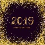2019 text för lyckligt nytt år royaltyfri illustrationer