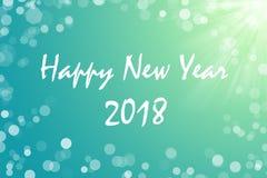 2018 text för lyckligt nytt år för kortet för din design på aquabakgrund Arkivfoto