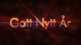 Text för lyckligt nytt år i svensk öglasanimering för Gott Nytt Ar över mörk livlig bakgrund stock illustrationer
