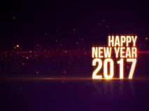 Text för lyckligt nytt år 2017 med härligt färgrikt ljus och partiklar med reflexion Royaltyfri Bild