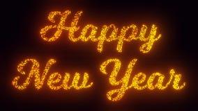Text för lyckligt nytt år på svart bakgrund, 3 stilsortsversioner som flyger gnistor, partikelanimering lager videofilmer