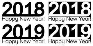 Text 2019 för lyckligt nytt år som 2018 märker mallen för vektorbroschyrdesign, översikt, baner stock illustrationer