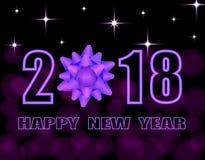 Text för lyckligt nytt år 2018 Stiliserad lilapilbåge greeting lyckligt nytt år för 2007 kort illustration Arkivbild