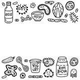 Text för mall för uppsättning för medicin för Probiotics bakteriemat stock illustrationer