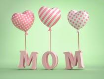 text för mamma 3D med ballonger i form av hjärta Arkivbilder