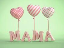 text för mamma 3D med ballonger i form av hjärta Arkivbild