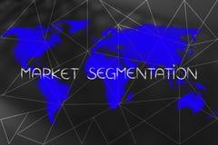Text för marknadssegmentering över världskartan och rusade linjer samkopiering royaltyfri fotografi