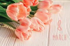 8 text för marsch på rosa tulpan på vit lantlig träbakgrund G Arkivbilder