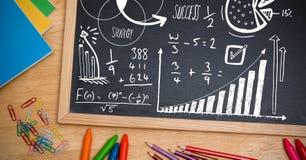text för matematikstrategiframgång på svart tavla Arkivfoton