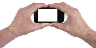 text för mobil telefon för cell här din isolerad smart Royaltyfri Foto