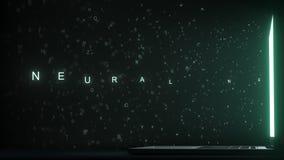 Text för NERV- NÄTVERK som kommer ut nära bärbar datorskärmen Begreppsmässig animering 3D arkivfilmer