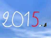 Text för nytt år 2015 från biplan rök - 3D framför Arkivbilder