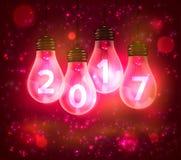 Text för nytt år 2017 numrerar skriftligt i lampor royaltyfri illustrationer