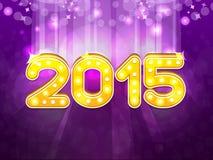 Text 2015 för nytt år på purpurfärgad bakgrund Arkivbild