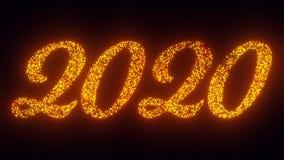 Text för nytt år 2020 på svart bakgrund, 3 stilsortsversioner som flyger gnistor, 2D animering för partiklar arkivfilmer