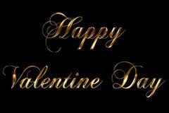 Text för ordet för dagen för valentin för gul guld för tappning går metallisk lycklig med ljus reflex på svart bakgrund med den a royaltyfri illustrationer
