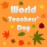 Text för papper för dag för världslärare` med vektorn för höstsidor Royaltyfri Illustrationer