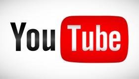 Text för YouTube logosymbol på vit bakgrund Fotografering för Bildbyråer