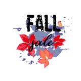 Text Fall Sale, discount banners.Red leaves with grunge elements. Ink drops, abstract background. Vector illustration Royalty Free Illustration