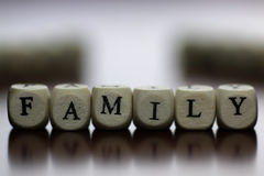 Text family letter cube Stock Images