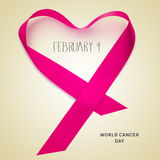 Text february 4, world cancer day. The text february 4, a pink ribbon forming a heart and the text world cancer day on a beige background Stock Photography