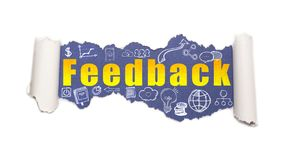 The text feedback behind torn white paper. The text feedback with business and web icons behind torn white paper stock image