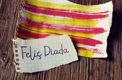 Text Felic Diada, Happy National Day of Catalonia in Catalan Royalty Free Stock Photos