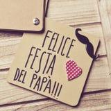 Text Felice festa del papá, dia de pais feliz no italiano Fotos de Stock Royalty Free