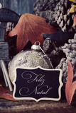 Text feliz natal, merry christmas in portuguese Royalty Free Stock Photos