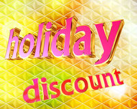 Text festive discount on bright background. Closeup Royalty Free Stock Photography