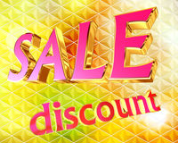 Text festive discount on bright background. Closeup Royalty Free Stock Photos