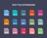 Text file extensions. Flat colored vector icons. Flat colored vector icons set Royalty Free Stock Photography