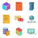 Text file icons set, cartoon style Stock Photography