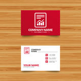 Text file sign. File document with chart symbol. Business card template. Text file sign icon. Add File document with chart symbol. Accounting symbol. Phone Royalty Free Stock Photography